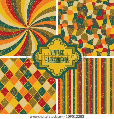 Set of four vintage background. Seamless textures, retro design - stock vector