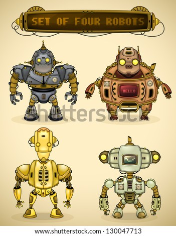 Set of four vintage robots - stock vector