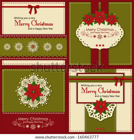 Set of four vintage Xmas greeting  cards. Holiday background with poinsettia, snowflakes and scrapbook elements. Modern handmade / paper craft design. Vector illustration. - stock vector