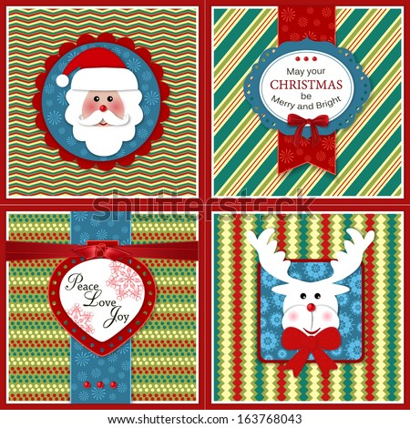 Set of four vintage Xmas greeting  cards. Holiday backgrounds with scrapbook elements. Modern handmade / paper craft design. Vector illustration. - stock vector
