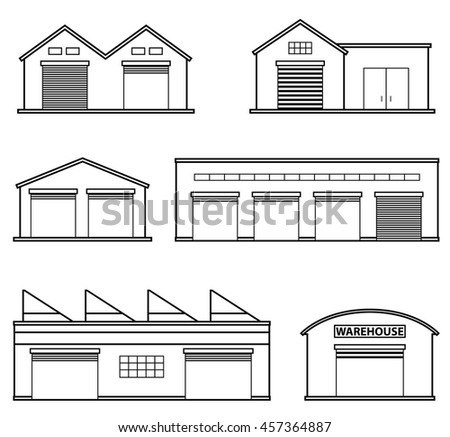 Set of four warehouses. Warehouse icon. Storehouse building isolated in flat style. - stock vector