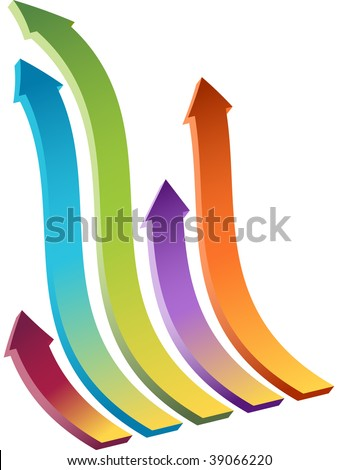 Set of Four wavy arrows moving upward. - stock vector