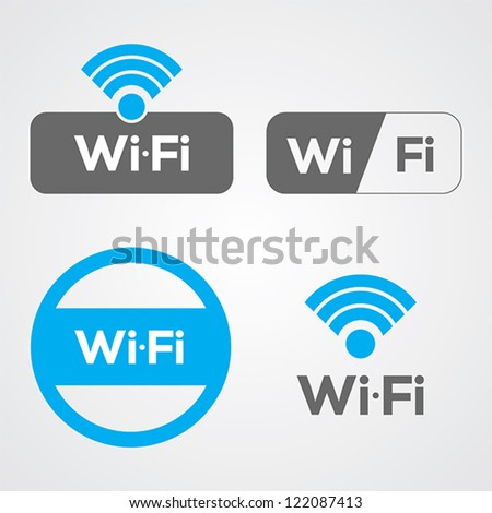 Set of four wifi icons for business or commercial use. - stock vector