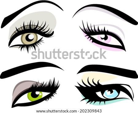 Set of four woman eye shape silhouettes with eyebrows long eyelashes vector icons  - stock vector