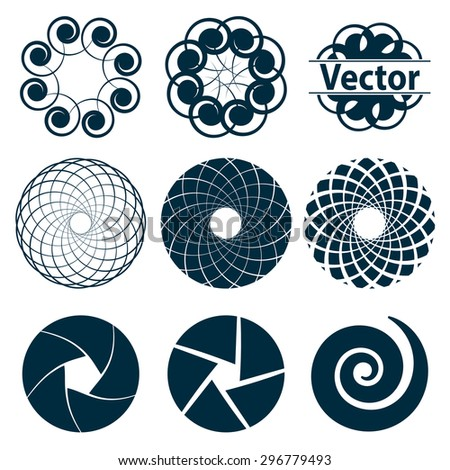Set of fractal and swirl shape element. Vintage monochrome different objects. Vector decorative sample.  - stock vector