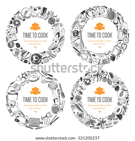 Set of frames (hand drawn style). fruits and vegetables, baked goods, breakfast, kitchen tools - stock vector