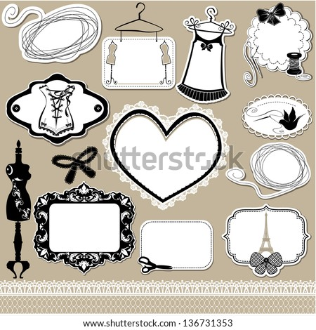 Set of frames, symbols, tools and accessories for sewing studio - stock vector
