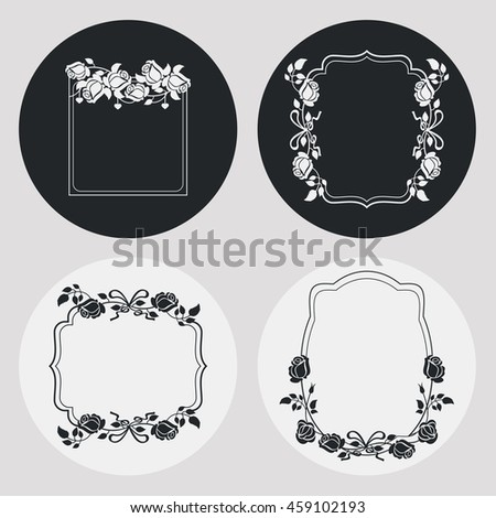 Set of frames with roses silhouettes. Design element for banners, labels, prints, posters, web, presentation, invitations, weddings, greeting cards, albums. Vector clip art. - stock vector