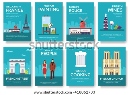 Set of France country ornament travel tour concept. Monument traditional, magazine, book, poster, abstract, element. Vector decorative ethnic greeting card or invitation design background - stock vector