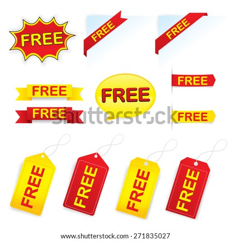 Set of Free labels. Vector 10 - stock vector