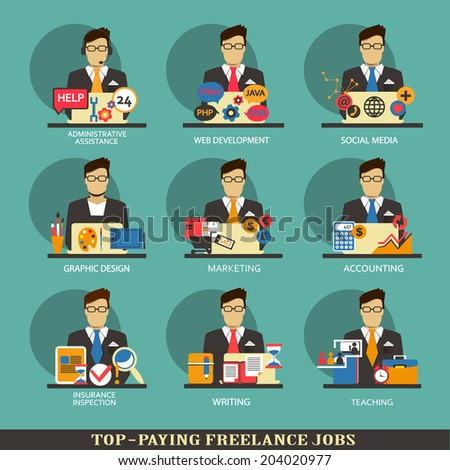 Set of freelance career icons. - stock vector