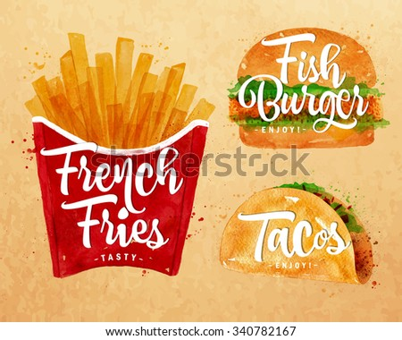 Set of french fries, fish burger and  tacos drawing with color paint on kraft background. - stock vector