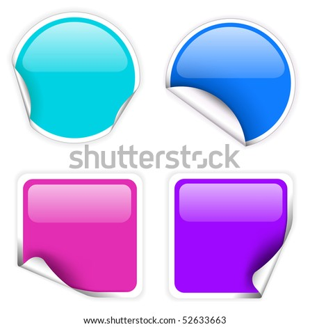 Set of fresh glassy labels (square and circle) - blue and purple - stock vector