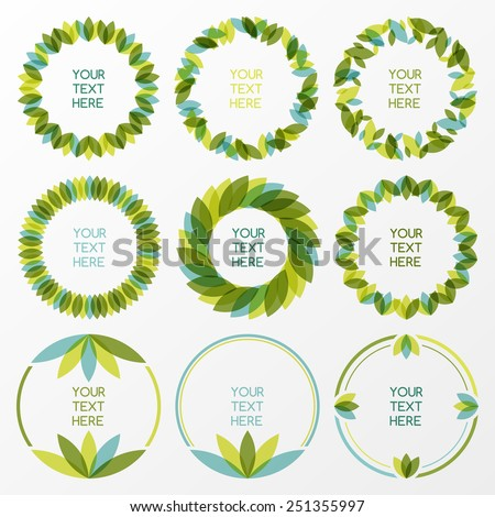 Set of fresh green leaves vector frame. Nature border background with place for text. Ecology concept.  - stock vector