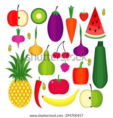 Set of fresh healthy fruits and vegetables made in flat style. Healthy lifestyle or diet vector design element. Organic farm illustration. - stock vector