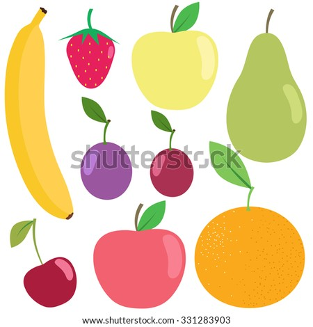 Set of fresh healthy fruits isolated on white background. Flat design. Organic farm illustration. Healthy lifestyle vector design elements.  - stock vector