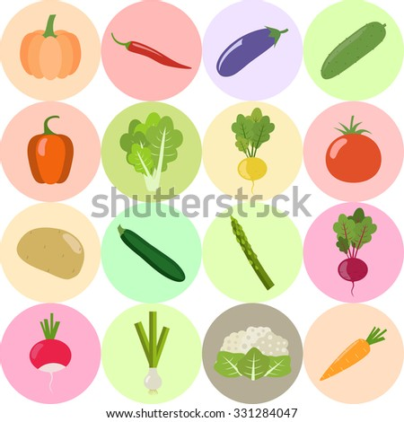 Set of fresh healthy vegetables isolated on white background. Flat design. Organic farm illustration. Healthy lifestyle vector design elements.  - stock vector