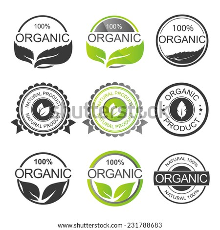 Set of Fresh Organic Labels and Elements  - stock vector