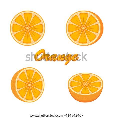 Set of fresh ripe oranges isolated on white background, illustration. - stock vector