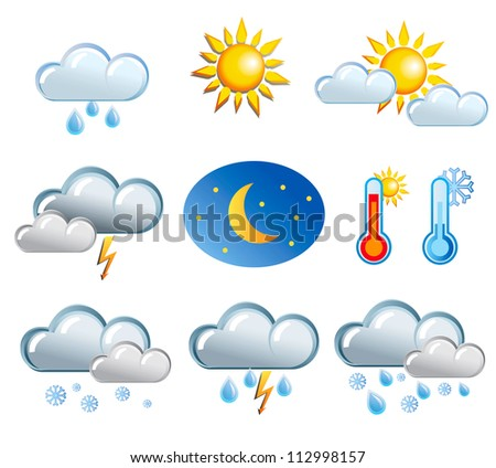 set of friendly weather icons - stock vector