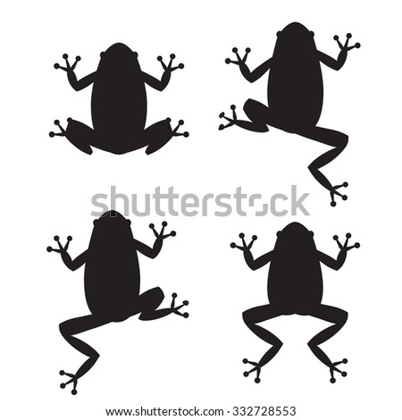Set of frog silhouettes on white background - stock vector