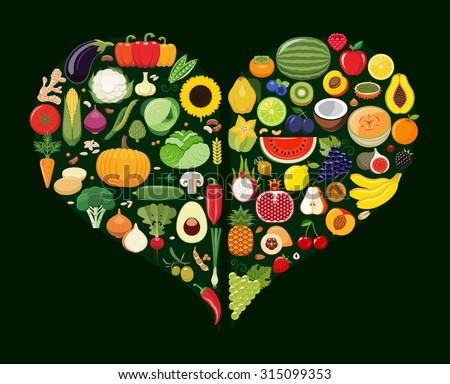 Set of fruit and vegetable icons forming heart shape. Vegetarian food icons. Healthy low fat food preventing cardiac disease. Vector illustration. - stock vector