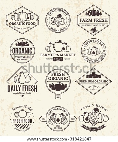 Set of fruit and vegetables retro styled logo templates. Fruit and vegetables labels with sample text. Fruits and vegetables icons for groceries, agriculture stores, packaging and advertising. - stock vector