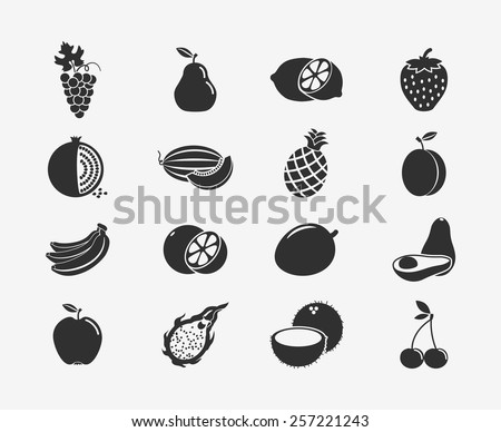 Set of fruit black silhouettes icons. Apple and banana, cherry and citrus, fruit and food, grape and lemon. Vector illustration - stock vector
