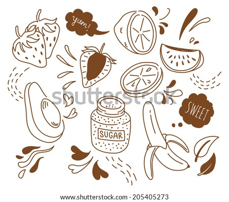 set of fruit doodle isolated on white background - stock vector