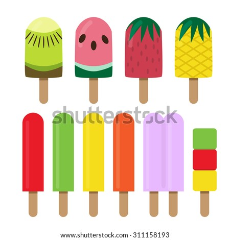 Set of fruit ice cream bar in flat style - stock vector