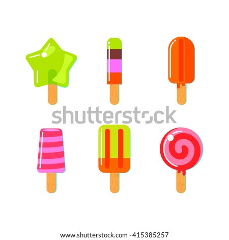 Set of fruit ice cream bar in flat style. Bright vector  illustration. - stock vector