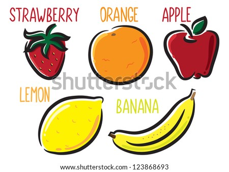 set of fruit icon - stock vector