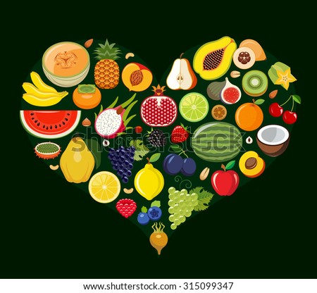 Set of fruit icons forming heart shape. Vegetarian food icons. Healthy low fat food preventing cardiac disease. Vector illustration.  - stock vector