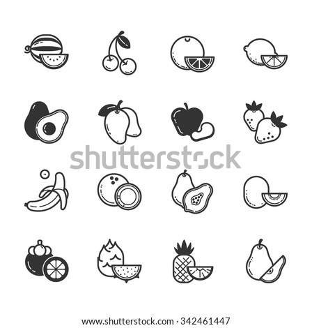 Set of fruits and vegetables icons , eps10 vector format - stock vector