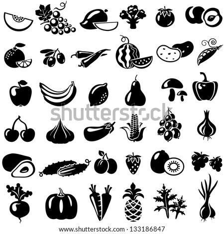 Set of fruits and vegetables. Vector illustration. Tomato, peach, onion, pepper, mushrooms, arugula, beans, melon, grapes, mango, broccoli, orange, olives, watermelon, banana, apple, lemon, pear - stock vector