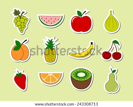 Set of fruits object stickers. Colorful ripe fruit sticky icon collection. cartoon drawing design, white frame, vector art image illustration, isolated on green background - stock vector