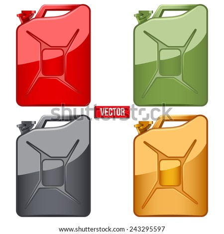 Set of Fuel container jerrycan. Gasoline canister. Vector Illustration isolated on white background. - stock vector