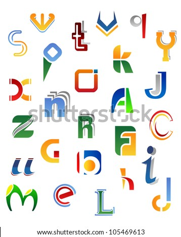 Set of full alphabet symbols from A to Z isolated on white background, such logo. Jpeg version also available in gallery - stock vector