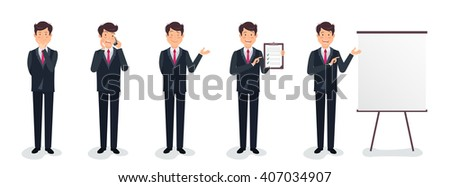 Set of full length business character in a suit expressing feelings and emotions. Business concept. Manager in different poses. Vector flat illustration. Eps 8 - stock vector