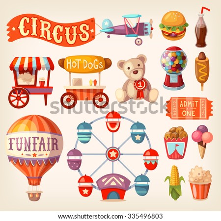 Set of fun fair and traveling circus icons and elements. - stock vector