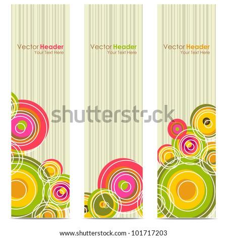 Set of funky vector headers & banner - stock vector