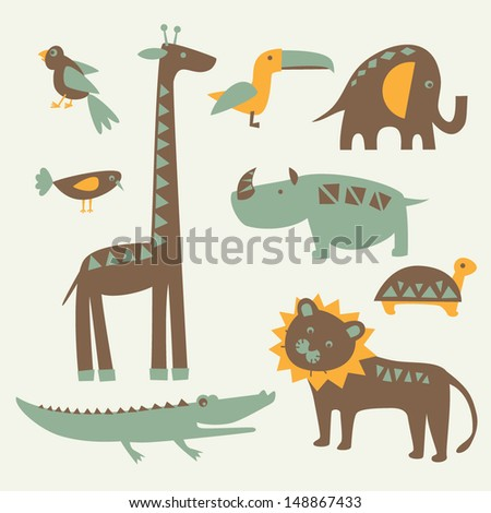 Set of funny African animals. Vector illustration. - stock vector
