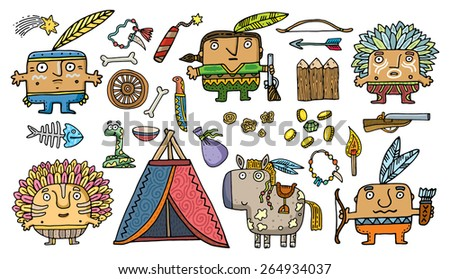 set of funny American Indians on white bac. Vector. Isolated . cartoon illustration. - stock vector