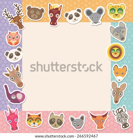 Set of funny animals muzzle square frame template card. background with Polka dot. Vector - stock vector