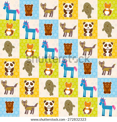 Set of funny animals panda bear wolf fox fur seal unicorn seamless pattern. Polka dot background with green blue orange square. Vector - stock vector