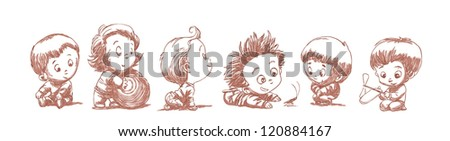 set of funny babies on a white background - stock vector
