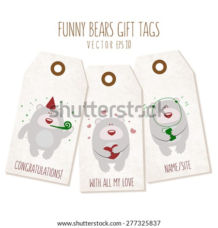 Set of funny bears gift tags on textured background. Vector eps 10 illustration. Labels of a traditional form with empty space for text. - stock vector