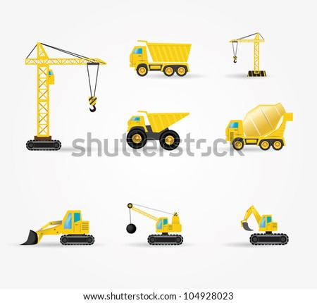 set of funny building car - stock vector