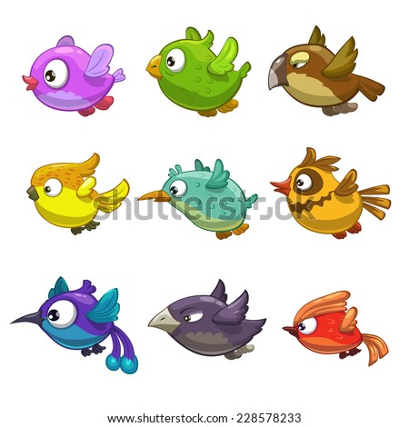 Set of funny cartoon birds, isolated vector on the white background - stock vector