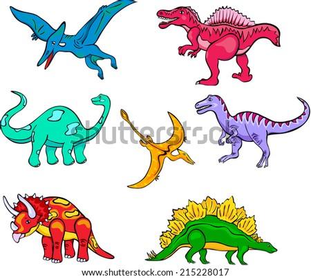 Set of funny cartoon dinosaurs for children - stock vector